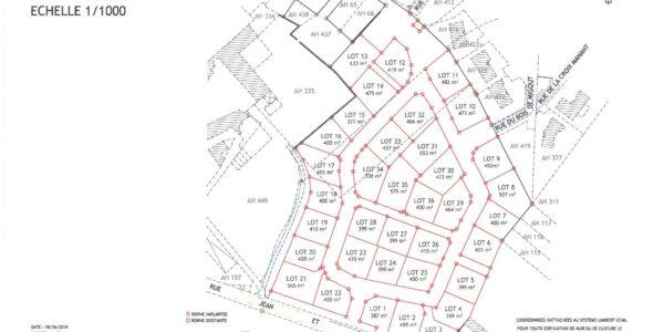 vente terrain à SAINT-YRIEIX (16710) – LOTISSEMENT LE CLOS DU LOGIS Nord-Ouest de la Charente