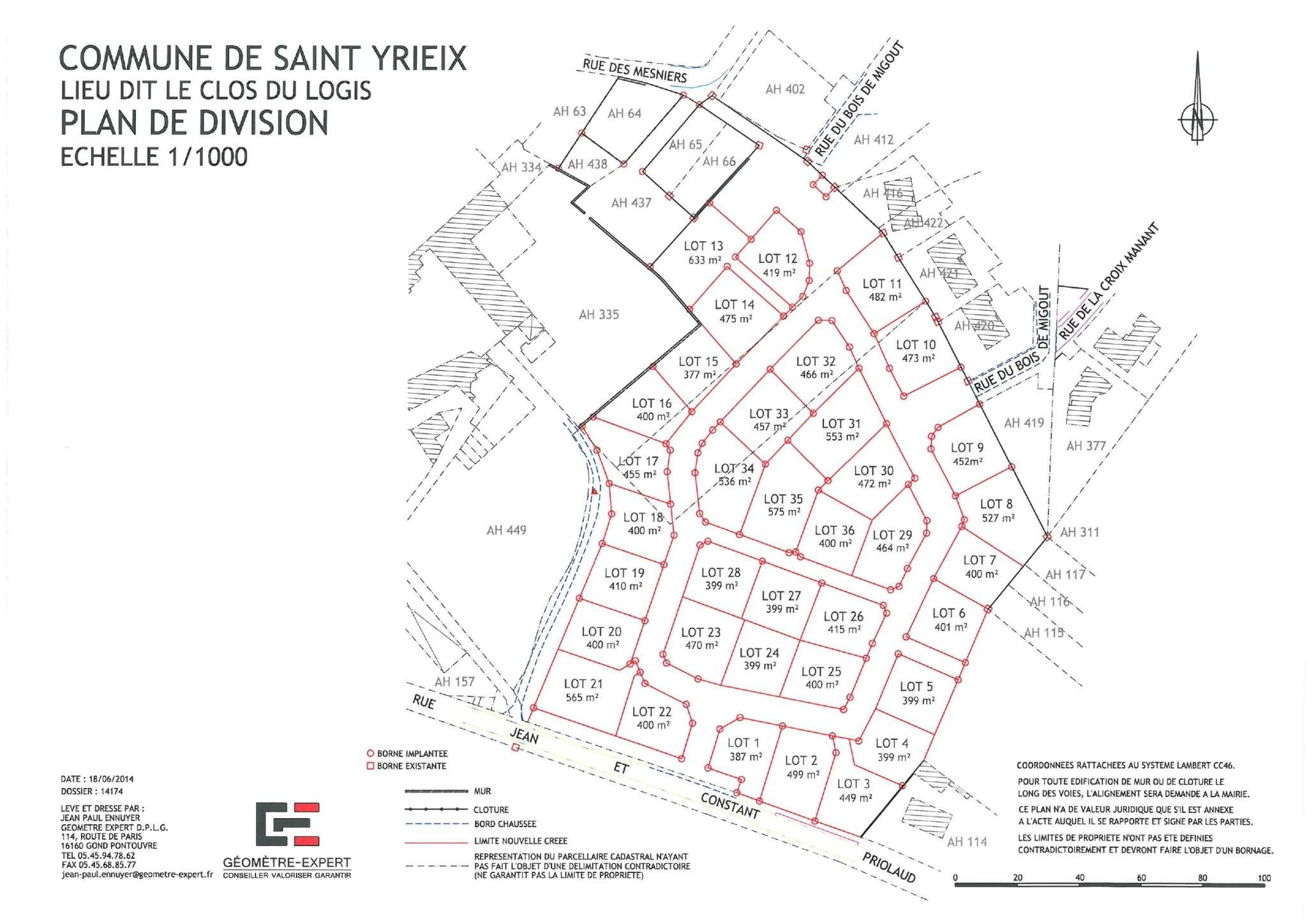 SAINT-YRIEIX (16710) – LOTISSEMENT LE CLOS DU LOGIS
