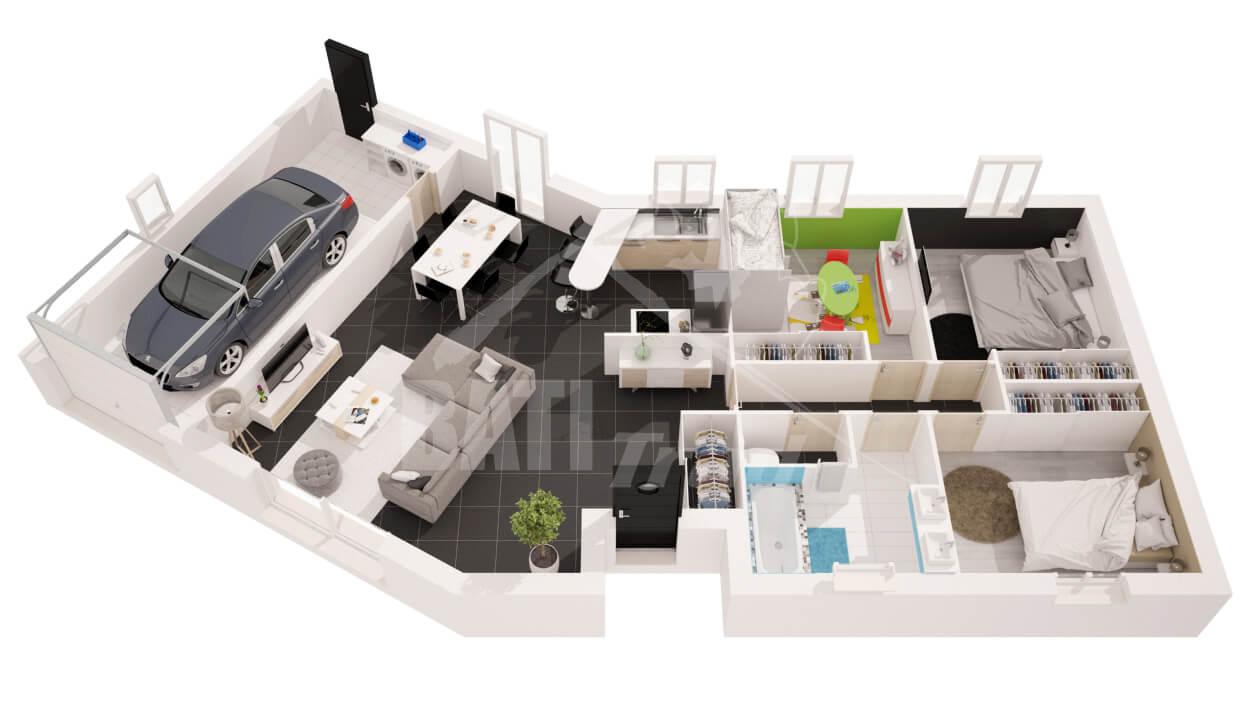 vue 3D de LISA 3 CHAMBRES